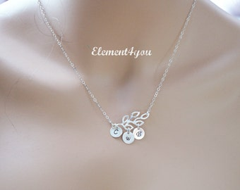 Family Initial Tree Branch necklace - STERLING SILVER - family gift , Birthday Gift Mother's Day Gift for her Mom daughter sister grandma