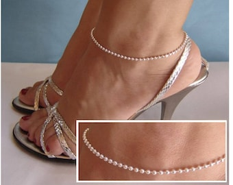 Sterling Silver anklet ball - 925 sterling silver ankle bracelet