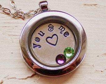 Floating Locket Necklace - Hand Stamped - Living Locket Pendant - Crystal Birthstones - Anniversary or Grandchildren  - Custom