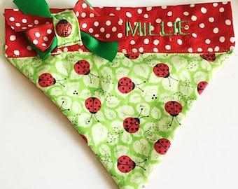 Green Ladybug Over the Collar Bandana for Dogs and Cats