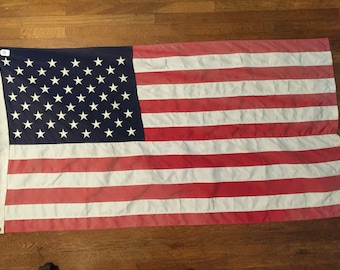 Vintage US Flag USA Bunting 50 Stars Faded Weathered Flag 4th of July FLAG #3