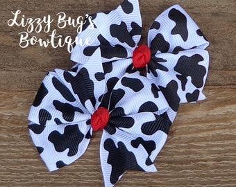 Cow Print Hair Bows~Pigtail Hair Bows~Hair Bows with Cow Print~Farm Girls Hair Bows~Hair Bows for Girls~Birthday Hair Bows~Hairbow for Girls