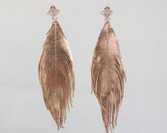 ROSE GOLD LEATHER feather earrings leather feather earrings leather feathers with stunning cubic zirconia rose gold studs