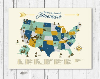 us national parks map adventure mountains parks rivers camping art boy room map kids bedroom classroom educational