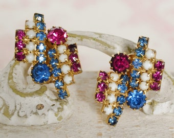 Vintage Clip-On Earrings with Pink and Blue Rhinestones
