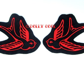 Swallow patch Pair in red (more and custom colors available) by Dolly Cool
