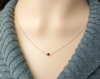 Ruby and Gold Necklace / Deep Red Natural Ruby on a Gold Filled Chain, Tiny Petite Everyday Jewelry, July Birthstone