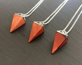 red jasper necklace, red necklace, red jasper jewelry, red jasper pendant, red jasper stone, crystal necklace, boho necklace, red jasper