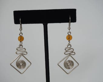 Silver wire earrings/ Metal earrings