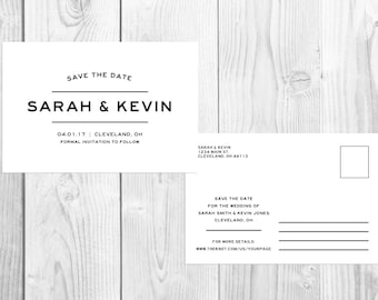 Printable Save The Date Postcard, Minimalist Save The Date, Digital Save The Date, Wedding Announcement