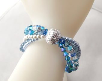 Blue Multi-Strand Pearl & Crystal Bracelet with Glass Bead Accents