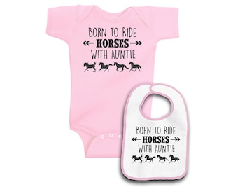 Born to Ride Horses with Auntie Layette Set - Pink or Blue