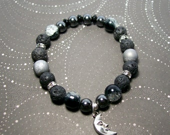 Dark Side of the Moon - Stretchy Beaded Bracelet - Space Jewelry