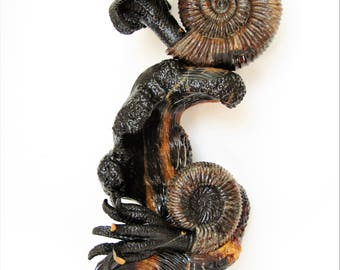 Birthday gift Sculpture of Speetoniceras ammonite shell and Simbircit stone 42x22 cm