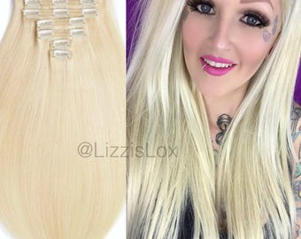 """16"""" to 30"""" Blonde Clip-in Extension - #60 Light Blond 100% REMY Human Hair - Dyeable Lightest Platinum - Double Wefted - Extra Thick"""