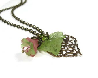 Flower and Leaf Necklace, Pink and Green Necklace, Swarovski Crystal, Summer Jewelry, Antique Brass Jewellery, Soft Pastels, Boho Chic