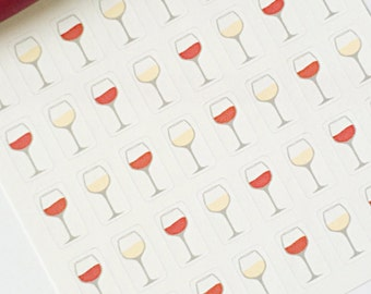 40 vin verre Planner Stickers - vin rouge et blanc vin autocollants - Date Night - Girls Night-parfait dans votre planificateur Erin Condren ou scrapbook
