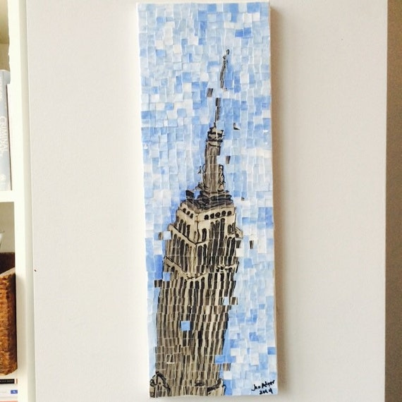 "New York City - Empire State Building - Architectural Art: 8""x24"" Original Painting"
