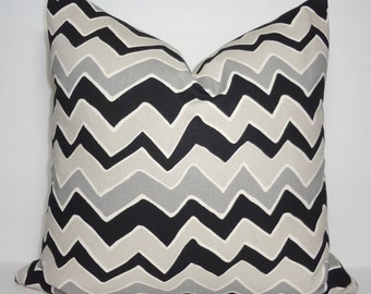 Black & Grey Zig Zag Chevron Pillow Covers Throw Pillows Decorative All Sizes