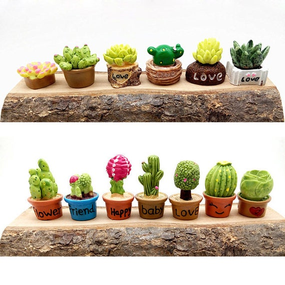 Buy Doll Furnishing Articles Resin Crafts Home Decoration: 13pcs Small Succulent Flower Vase Set Miniature Fairy Garden