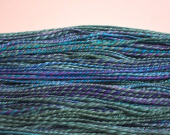 Aquatic -handspun yarn - 180 yards - hand dyed merino wool - DK weight - 2 ply -wool yarn - blue and purple yarn - hand painted yarn - yarn
