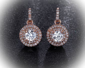 Rosegold wedding earrings, wedding jewelry, dangle earrings, bridesmaid jewelry,  Rose gold earrings