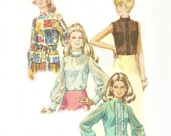 Vintage Blouse Pattern With Stand Up Collar UNCUT Bust 40 Simplicity 8594 Size 18