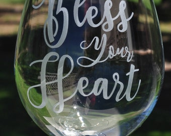 Personalized Wine Glass Bless Your Heart, Jersey Girl for  Mother's Day, Friend, Wife by Jackglass on Etsy