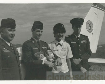 Vintage photo Vernacular Snapshot Air Force Men women Pilots Hold Stuffed Animals Teddy Bears