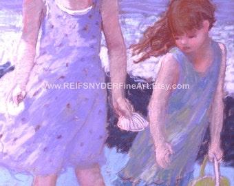 Beach print two girls, sisters, children, figures, seashore, seashell, lavender, blue, seaside art, friends, kids, wading, surf, beach scene