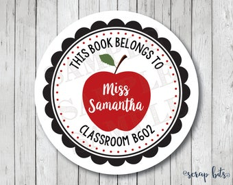 Apple for Teacher Stickers, Personalized Apple Labels, Teacher Classroom Stickers, Apple Tags
