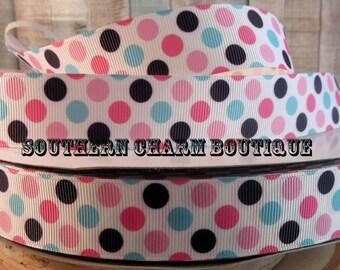3 yards pink/teal/navy polka dot grosgrain ribbon
