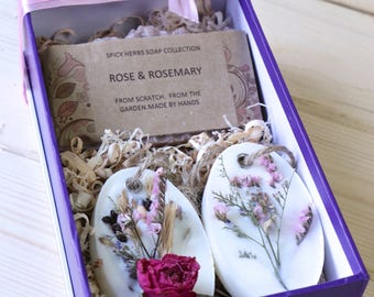 Soap & Sachet Gift Set - Birthday Gift, Unique Gift, Rose Soap, Res Currant, Thyme, Tea Wax Sachet, Housewarming Gift, Natural Gift Set,