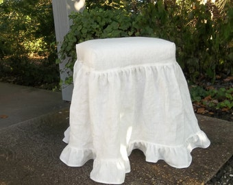 Ruffled Slipcovered Stool | Washed Linen Slipcover | Vintage Furniture | Upholstered Bench Dressing Table Stool French Prairie