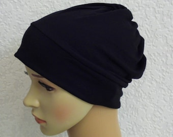Stretchy beanie, chemo cap, women's beanie, bad hair day hat, chemo headwear, head covering, many colours, made from viscose jersey