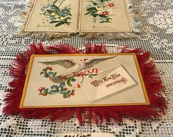 Victorian Silk Edge Greeting Cards 1870's