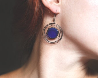 Cobalt Blue Galaxy Earrings, Cosmos Stained Glass Metal Jewelry, Big Circle Earrings, Statement Beautiful For Her