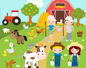 Farm Clipart / Farm digital clip art / barnyard clipart / farm animals clip art / domestic animals / for commercial use / png / eps