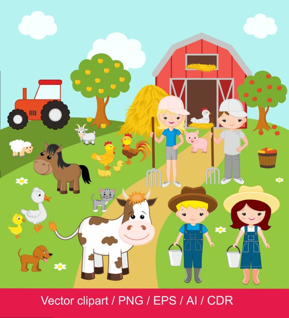 farm clipart farm digital clip art barnyard clipart farm rh etsystudio com clipart barnyard animals barnwood clip art free