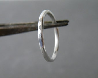 Sterling Silver Band Ring Stacking Hammered Ring Minimalist Ring Handmade Silver Jewelry by SteamyLab