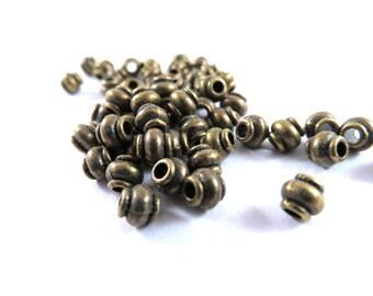 50 Antique Bronze Barrel Spacers Tibetan Style Lantern Beads 4.5mm 1mm hole LF/NF/CF - 50 pc - M7069-AB50