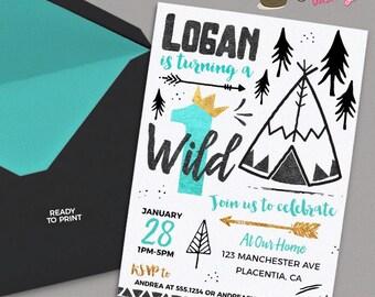 Wild One Birthday invitations Tribal gold teal  Black teepee Birthday invitations Printable Boho birthday invitations golden crown
