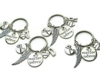 4 Best Friends Keychains, No Matter Where, Angel Wing Pinky Promise Keychain, BFF Keychains,Friends Keychains,Sisters Keychains,Personalized