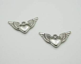 set of 3 Silver angel wing (D51) heart charms
