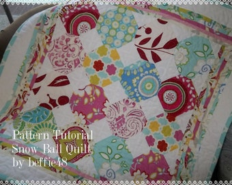 Snow Ball Quilt Pattern Tutorial,  pdf, with Lots of Photos, Instant Download
