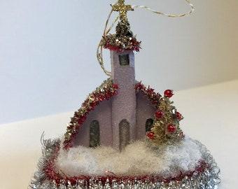Putz Glitter House Ornament