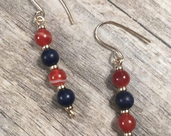 Natural Blue Lapis Lazuli and amber colored agate gemstones with 14k gold beads earrings