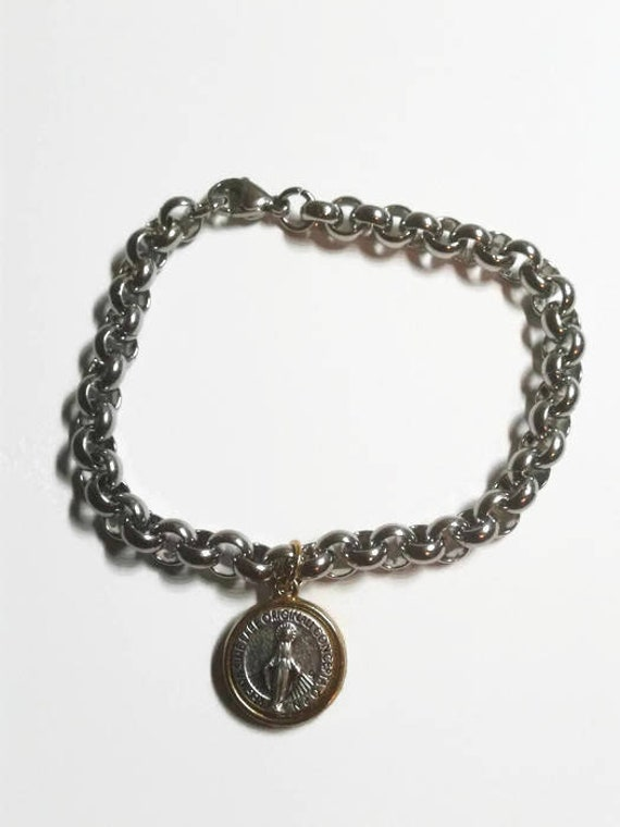 Miraculous Medal Bracelet in thick Stainless steel - Eye-catching two-tone miraculous medal - highly detailed