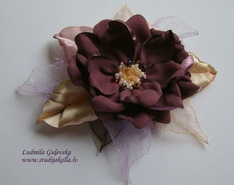 Handmade claret satin flower brooch, flower clip & pin, embroidered flower