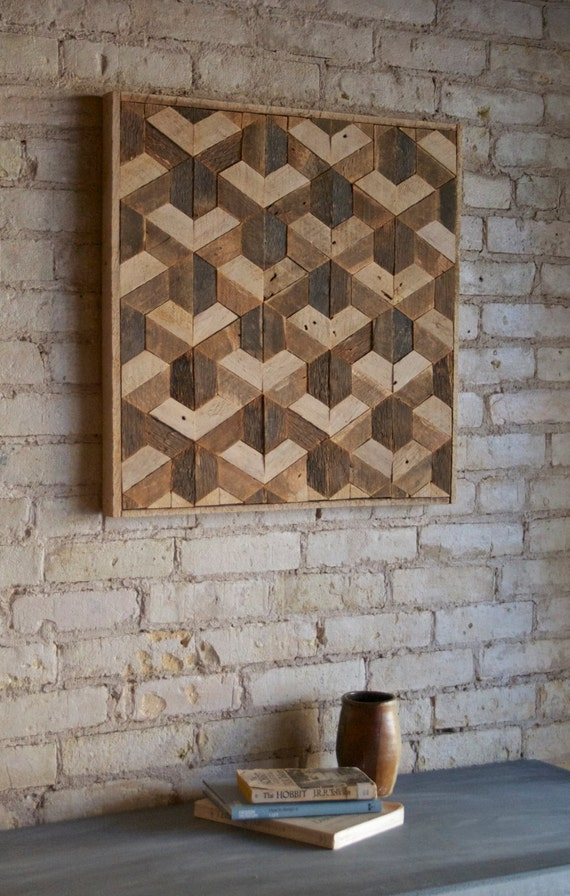 Incroyable Reclaimed Wood Wall Art, Decor, Lath, Pattern, Geometric, Hexagon,  Tessellation 24 X 24